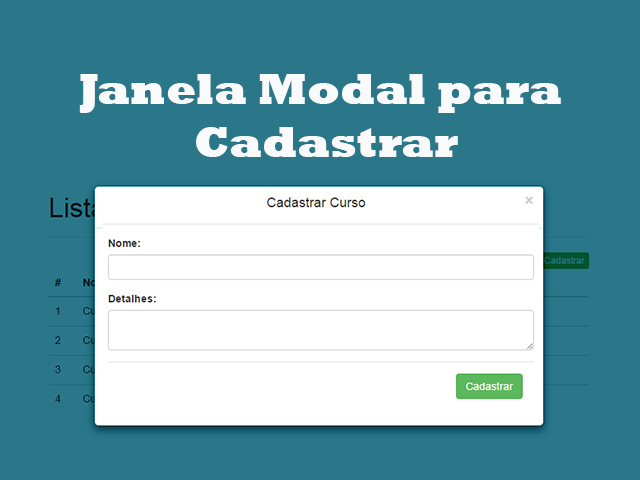 Como criar Formulário para Cadastrar Produto em Janela Modal