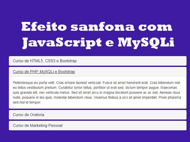 Como criar efeito sanfona com JavaScript e MySQLi